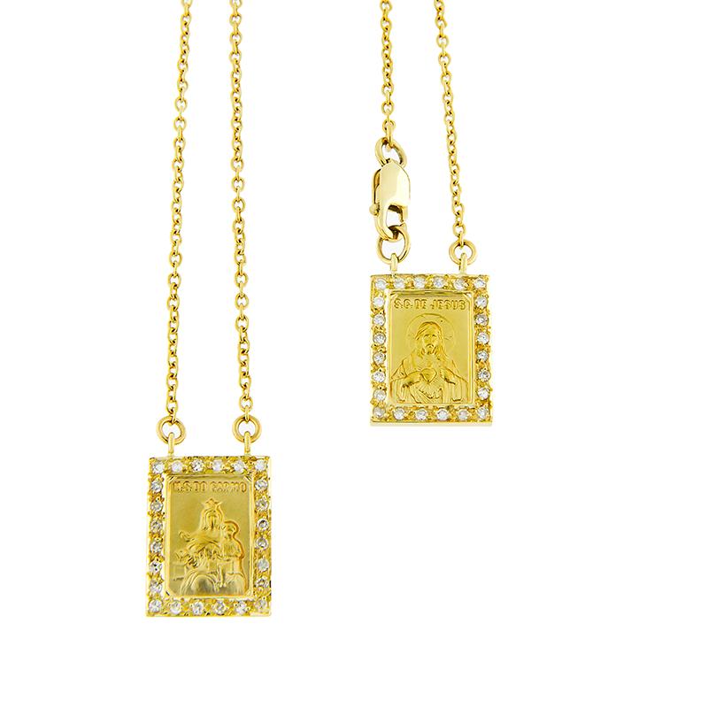 Gargantilha Escapulário de Ouro Amarelo 18k com Diamantes