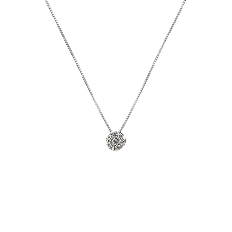 Gargantilha Ouro Branco 18K com Roseta de Diamantes