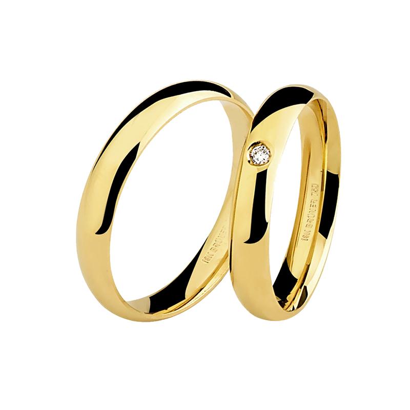 Par de Alianças em Ouro Amarelo 18K de Casamento