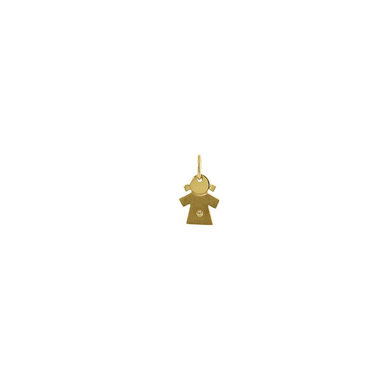 Pingente de Ouro Amarelo 18K Boneca com diamante