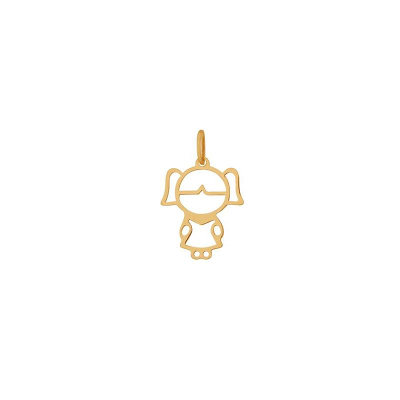 Pingente de Ouro Amarelo 18K Boneca Vazada Média