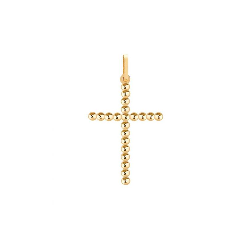 Pingente de Ouro Amarelo 18K Crucifixo de Bolinhas