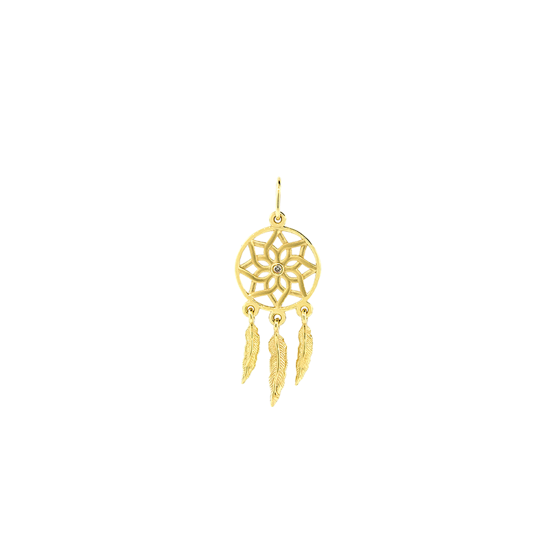 Pingente de Ouro Amarelo 18K Filtro dos sonhos com Diamante