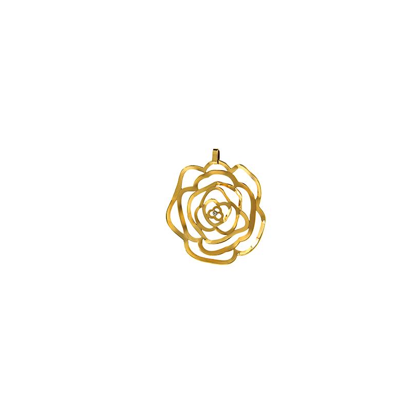 Pingente de Ouro Amarelo 18k Flor vazada com Diamante