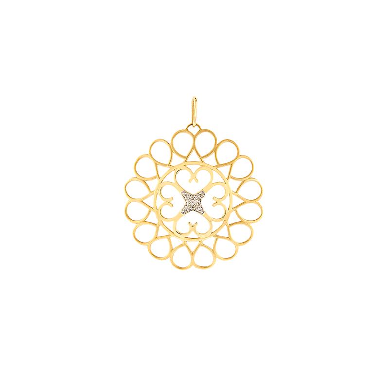 Pingente de Ouro Amarelo 18K Mandala com diamantes