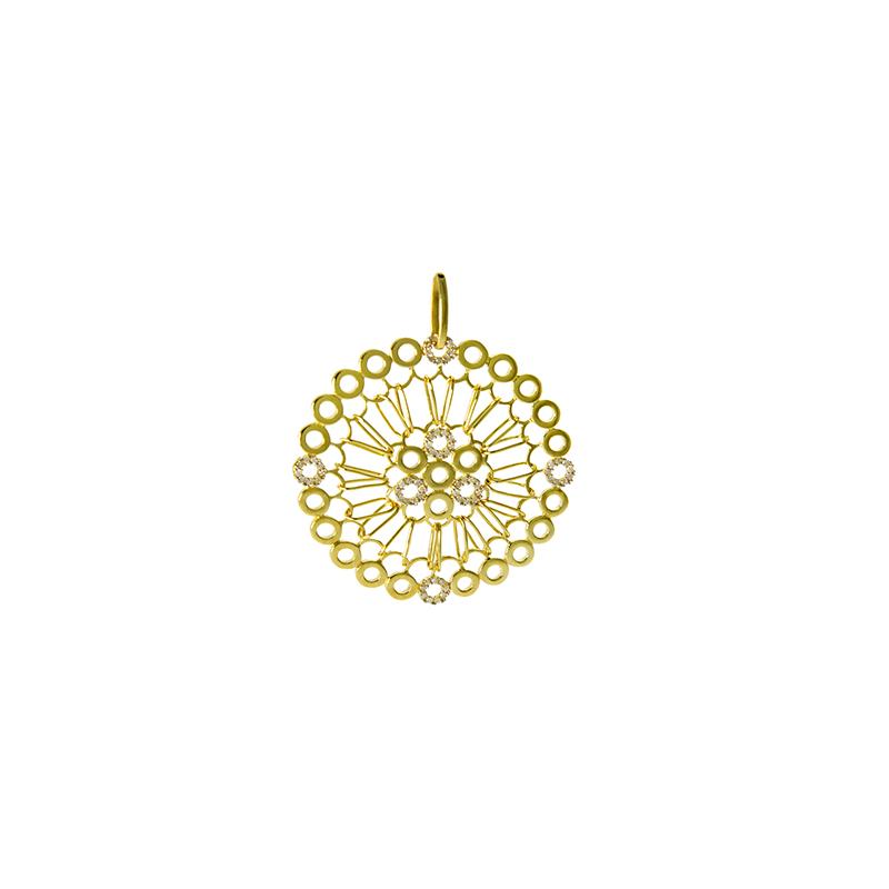 Pingente de Ouro Amarelo 18K Mandala Vazada Grande com Diamante