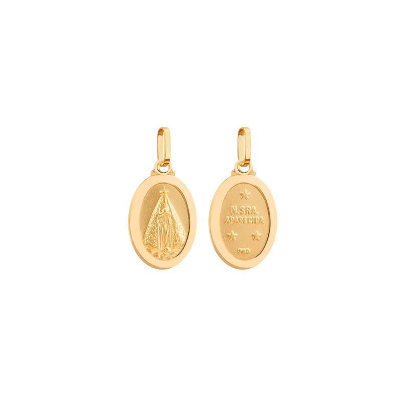 Pingente de Ouro Amarelo 18K Medalha de N.Sra Aparecida