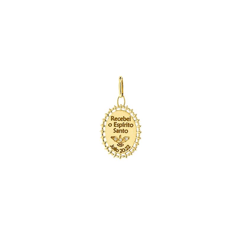 Pingente de Ouro Amarelo 18K Medalha Espirito Santo com Diamante