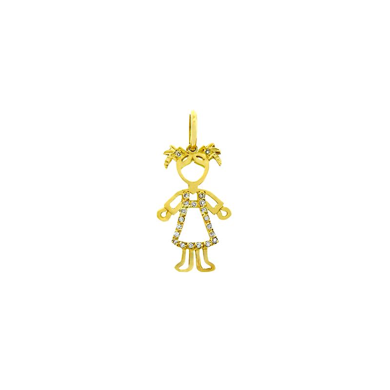Pingente de Ouro Amarelo 18K Menina com Vestido de Diamantes