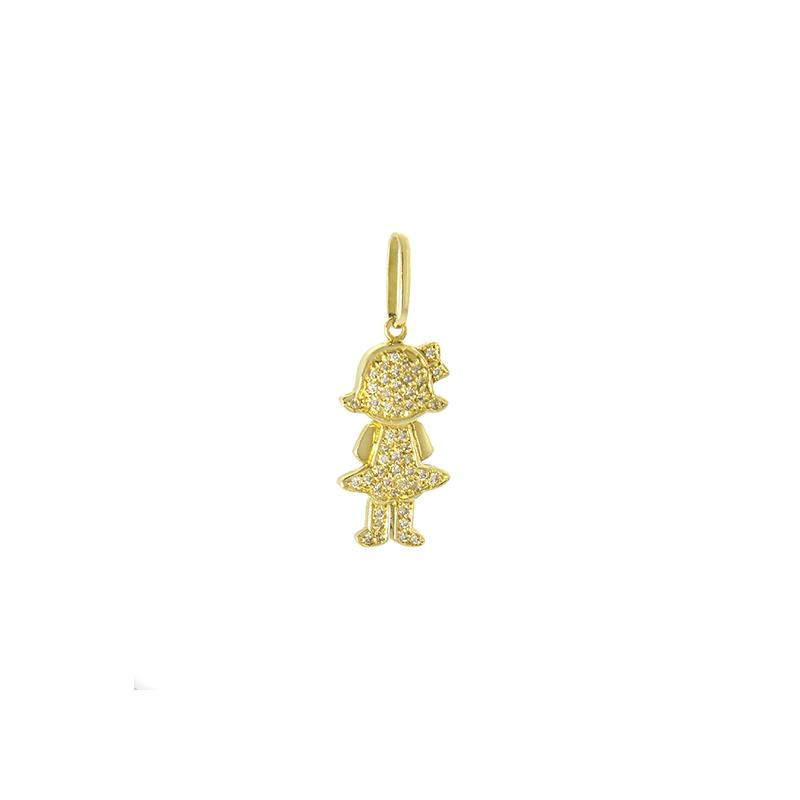 Pingente de Ouro Amarelo 18k Menina Pavê de Diamantes