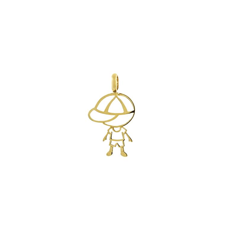 Pingente de Ouro Amarelo 18K Menino com boné Vazado