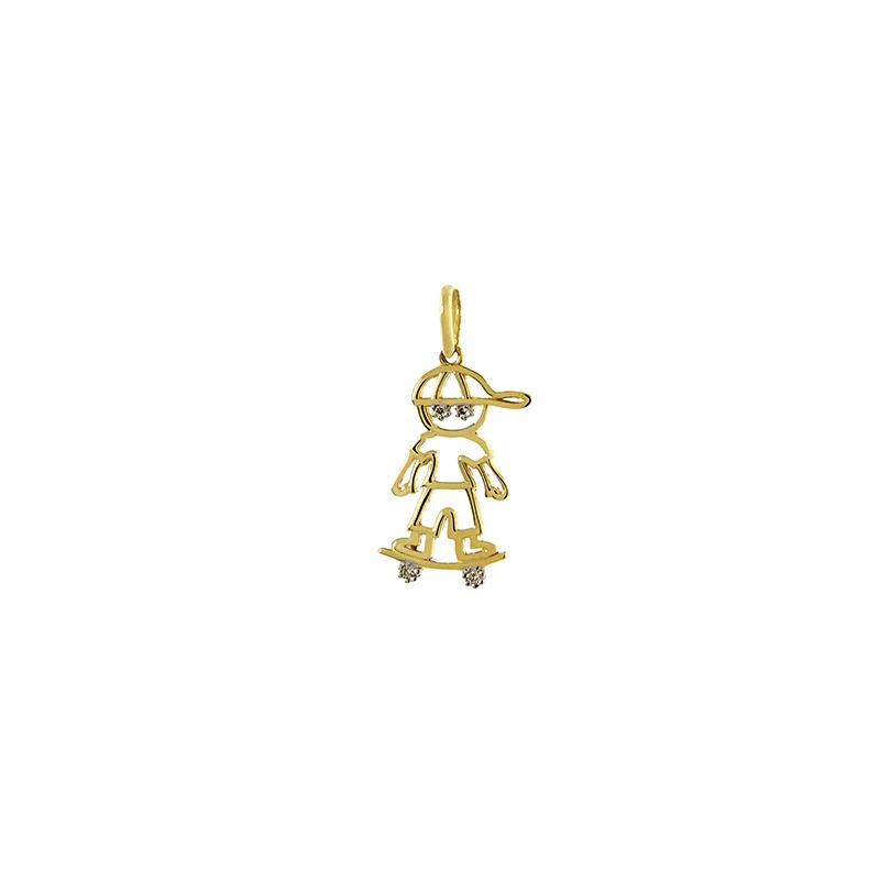 Pingente de Ouro Amarelo 18k Menino com Skate e Diamante