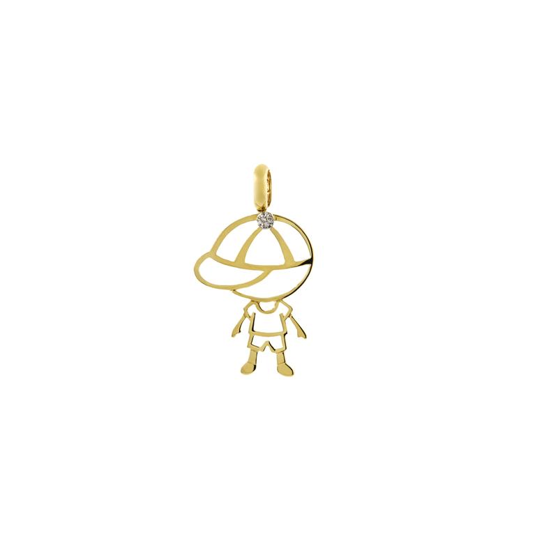 Pingente de Ouro Amarelo 18k Menino de boné com Diamante