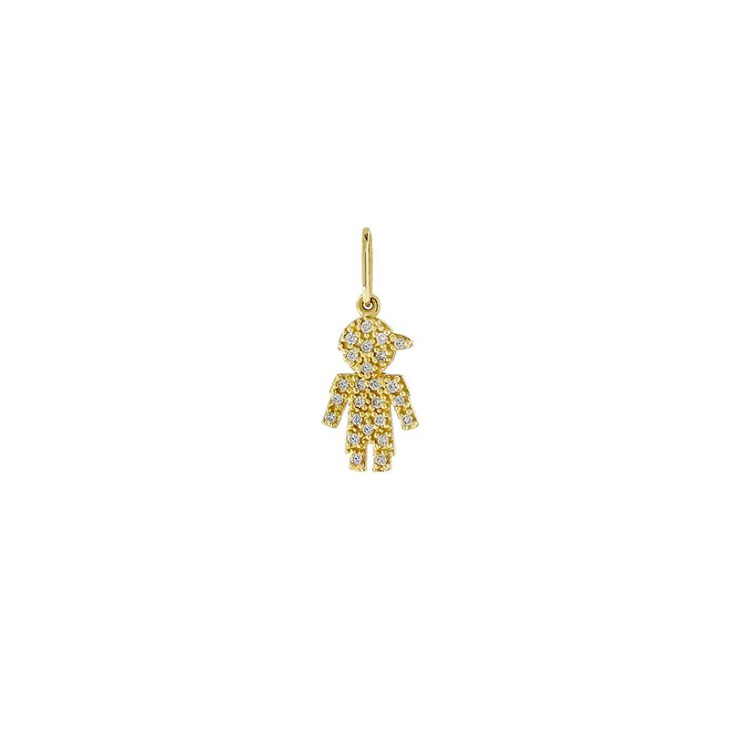 Pingente de Ouro Amarelo 18K Menino Pavê de diamantes Pequeno