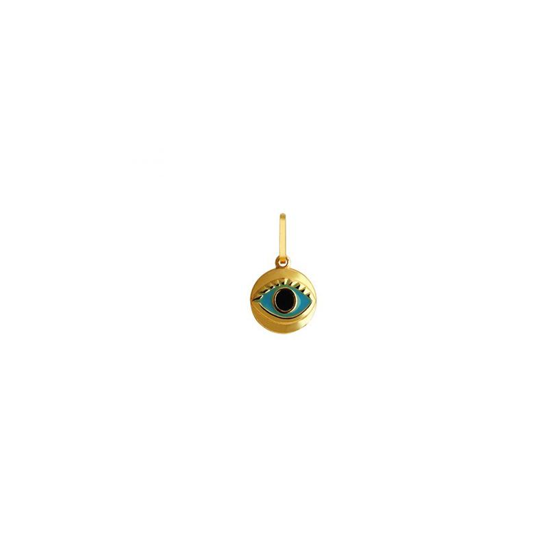 Pingente de Ouro Amarelo 18K Olho Grego Esmalte Médio