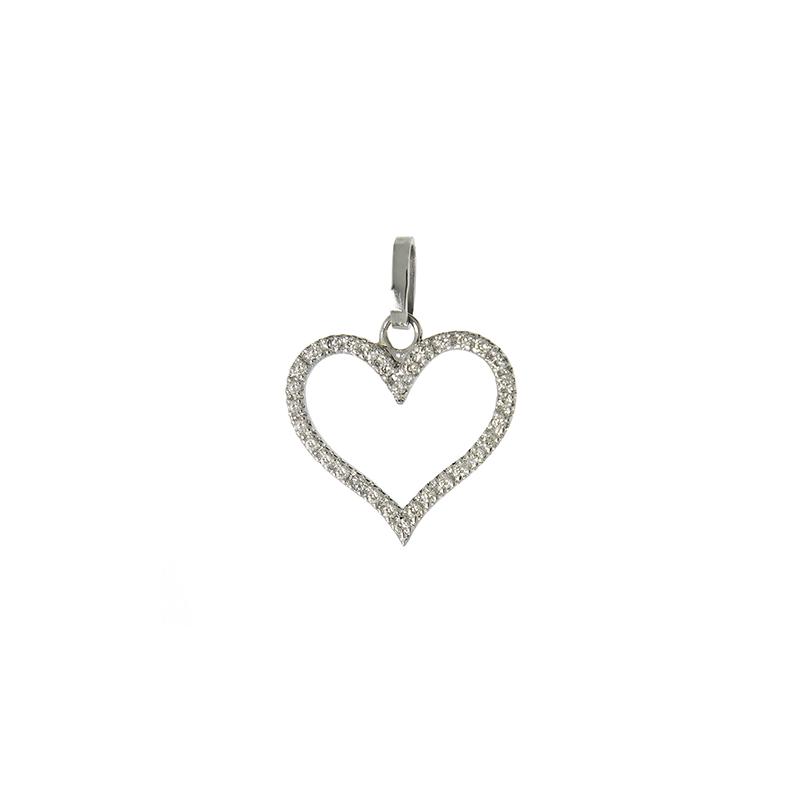 Pingente de Ouro Branco 18k Coração Vazado com Diamante