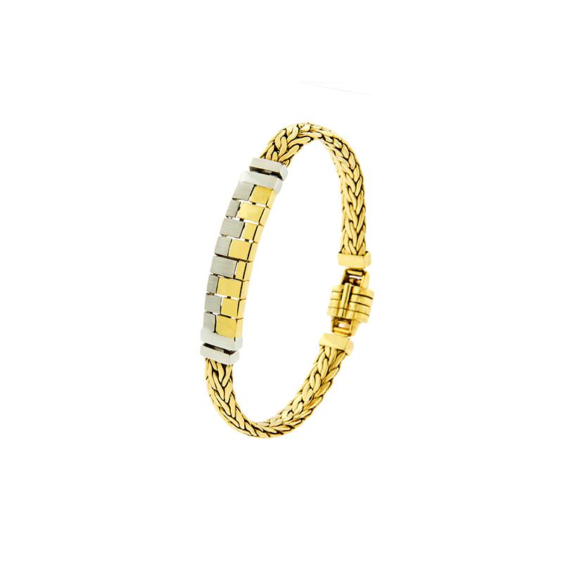 Pulseira Bracelete Masculino de Ouro Amarelo e Branco 18K
