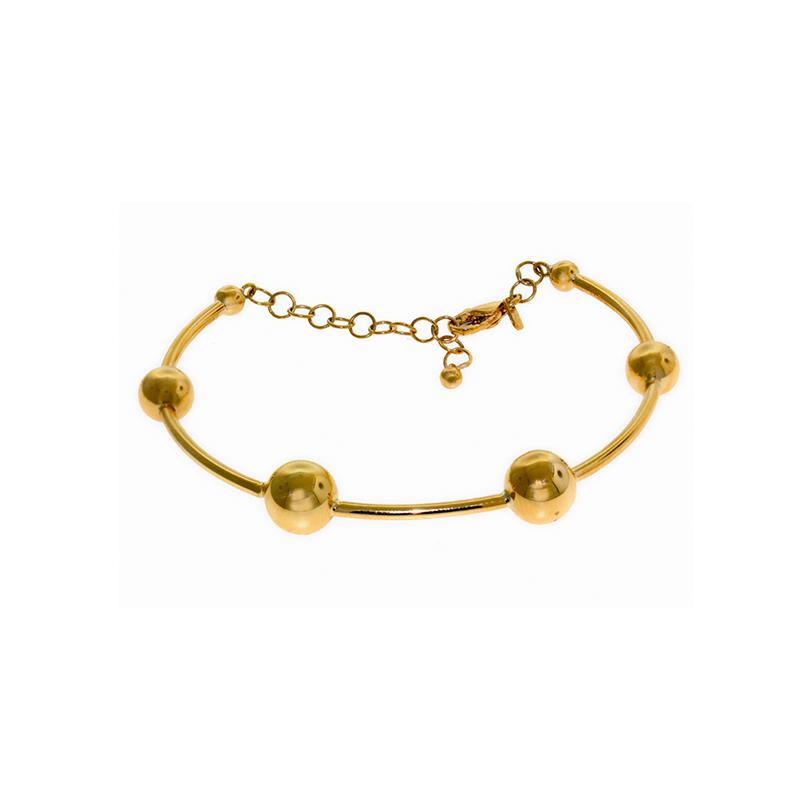 Pulseira de Ouro Amarelo 18k Bracelete 4 Bolinhas
