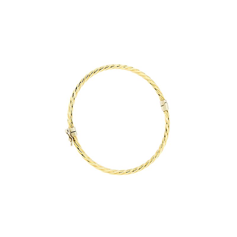 Pulseira de Ouro Amarelo 18K Bracelete Algema Torcido