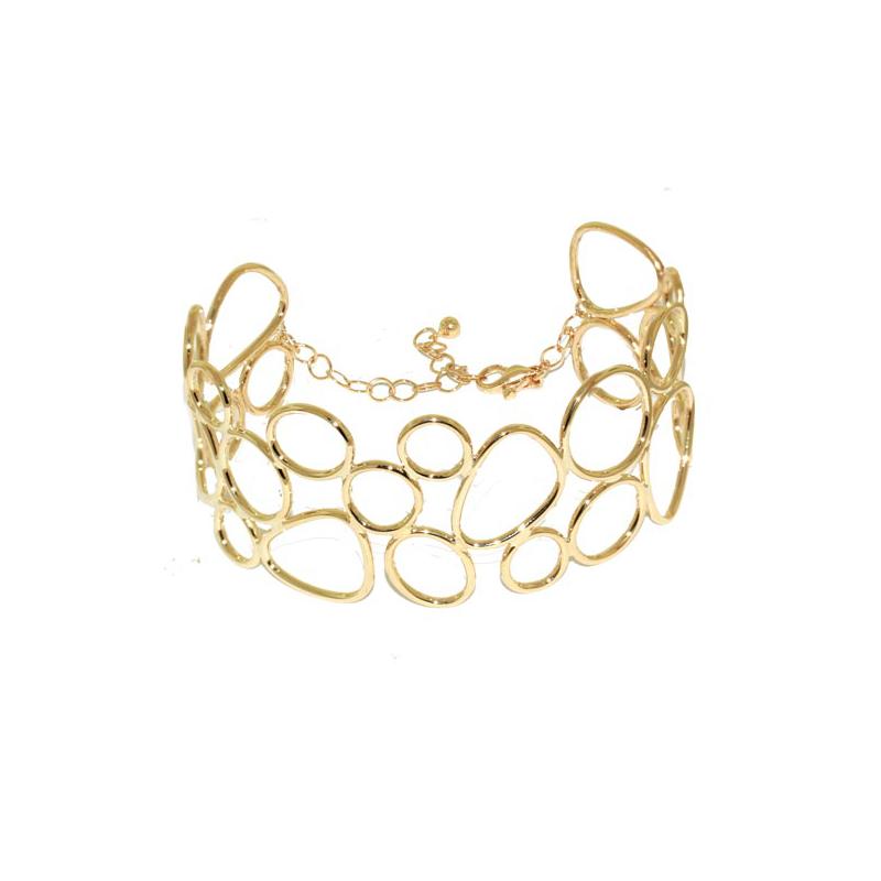 Pulseira de Ouro Amarelo 18k Bracelete Círculos