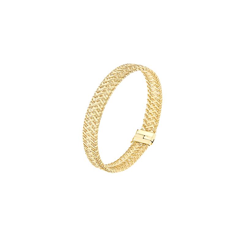 Pulseira de Ouro Amarelo 18K Bracelete com Malha de Tramas