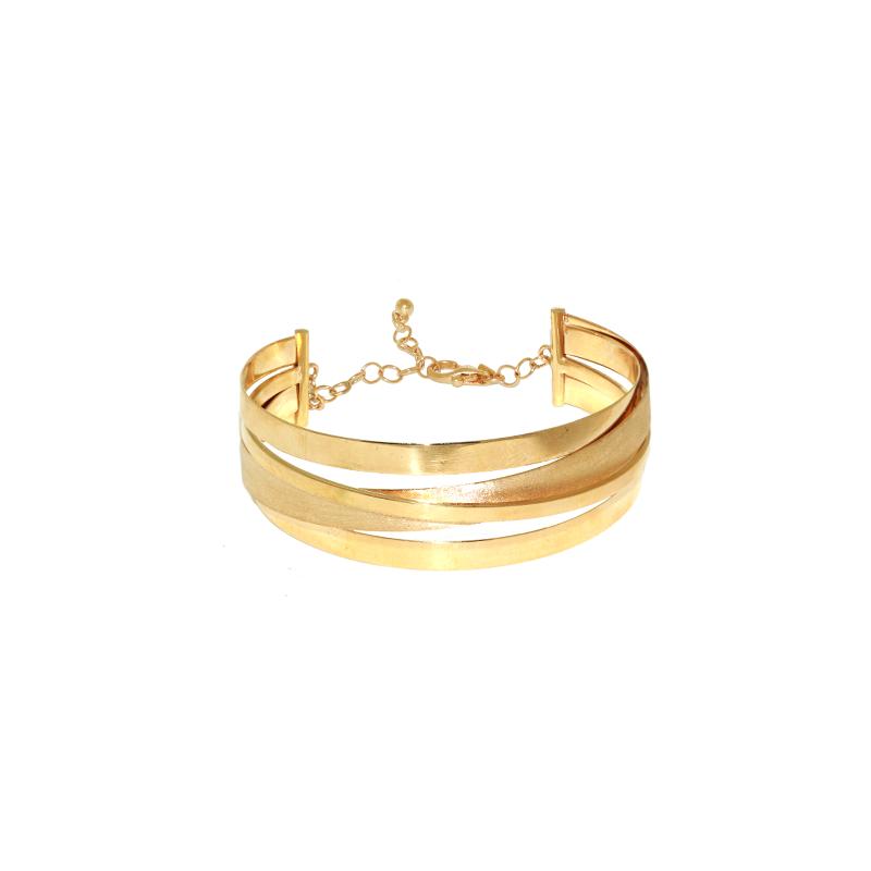 Pulseira de Ouro Amarelo 18K Bracelete Fitas Foscas e Polidas