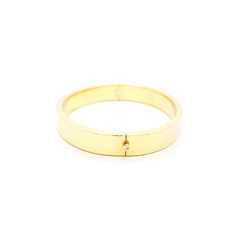 Pulseira de Ouro Amarelo 18k Bracelete Liso com ponto de luz