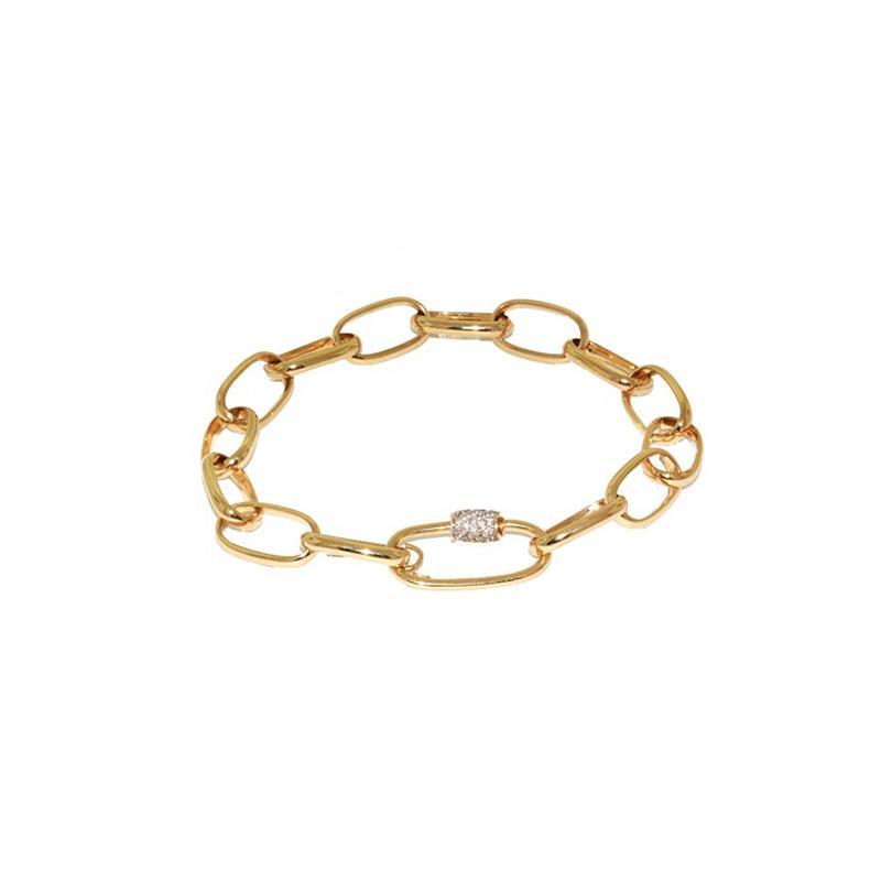 Pulseira de Ouro Amarelo 18K Elo Cartier com Fecho em Diamante