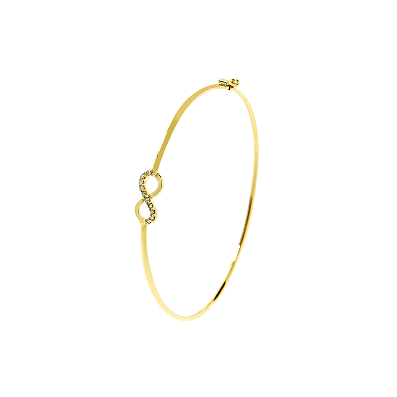 Pulseira de Ouro Amarelo 18k Infinito com Diamante