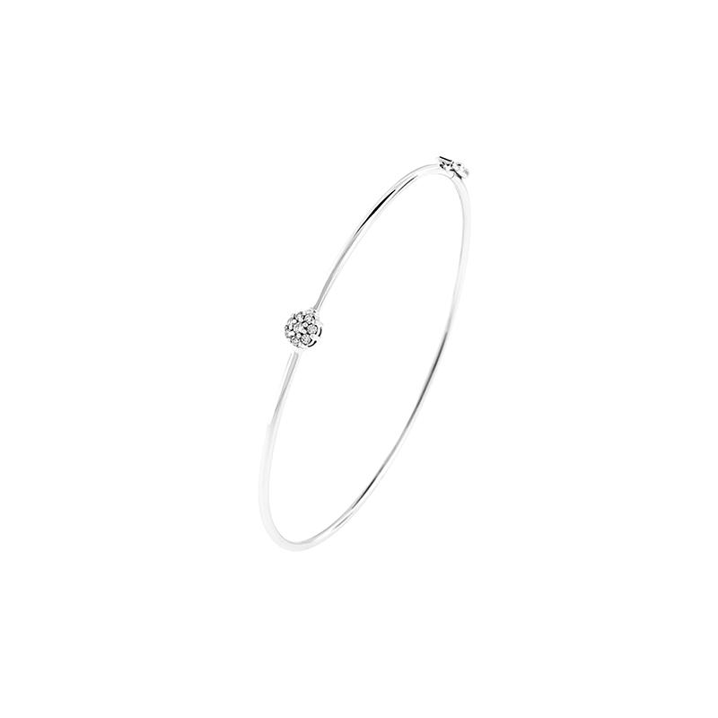 Pulseira de Ouro Branco 18K Bracelete com Roseta de Diamantes