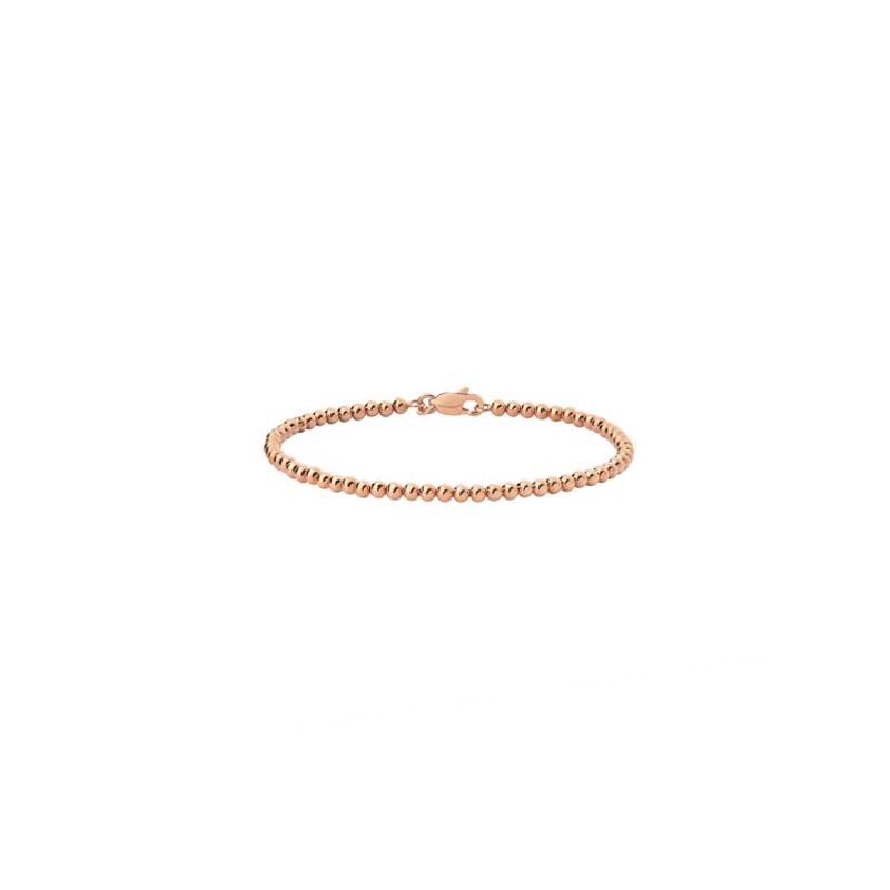 Pulseira de Ouro Rosê 18K Bracelete de Bolinhas