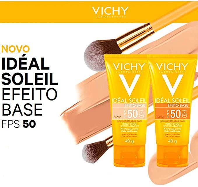 Ideal Soleil Efeito Base ( EF) FPS 50 - Vichy - filtro solar com tonalidade de cor,matificante e antibrilho