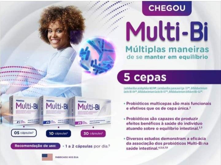 Multi-bi nutracêutico com lactobacillus para melhorar imunidade 30 caps.