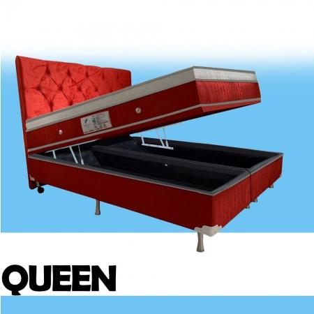 Cama Box Baú + Colchão Magnético Queen Infra Vermelho Anti Germes e Anti Mofo