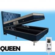 Cama Box Baú + Colchão Magnético Queen Size Massageador Energia Bio Quântica