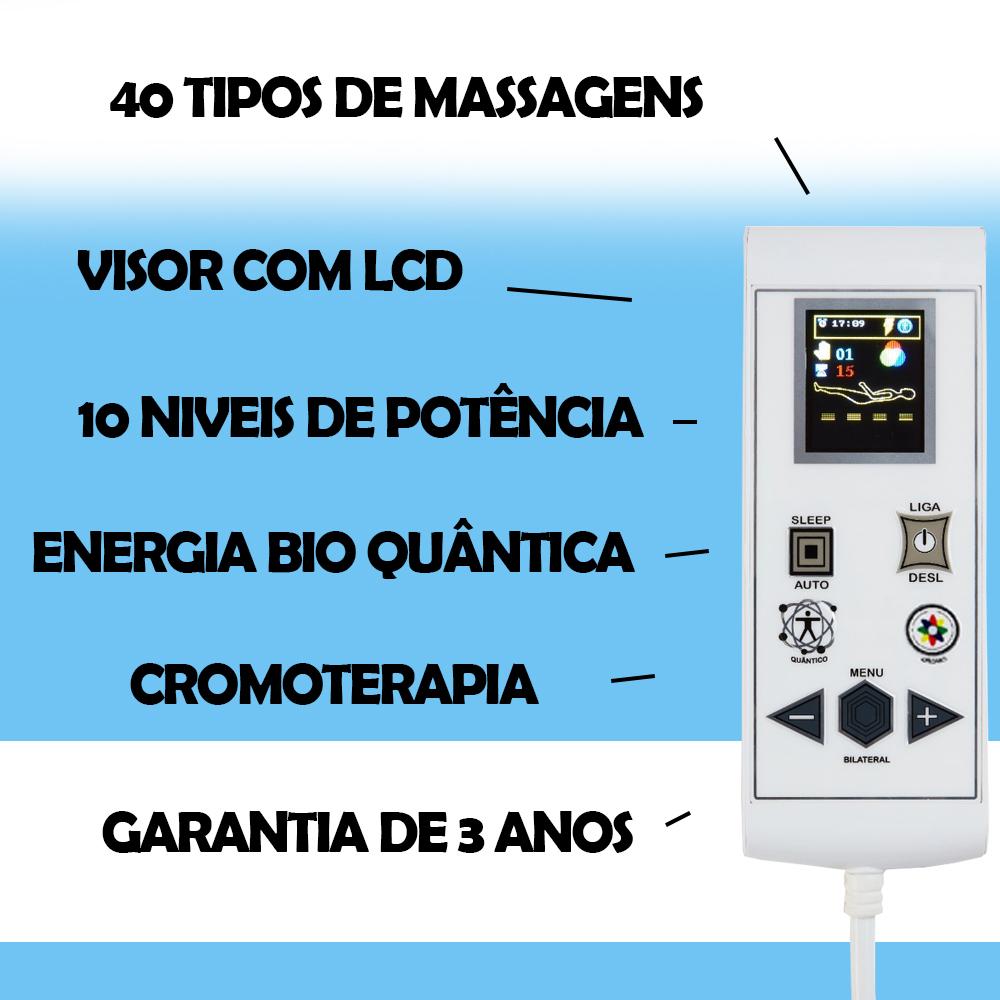 Cama Box Baú + Colchão Magnético King Elegancy Massageador Bio quântico com 40 Tipos de Massagens