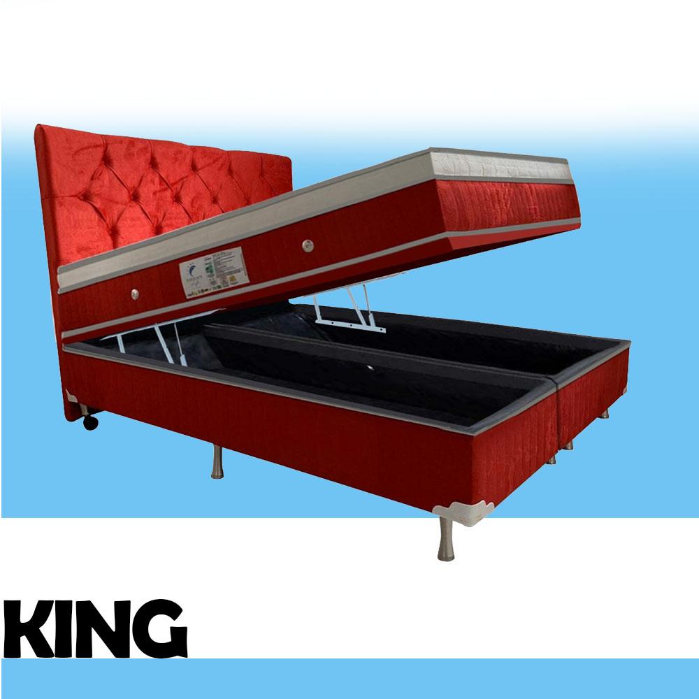 Cama Box Baú + Colchão Magnético King Infra Vermelho Anti Germes e Anti Mofo