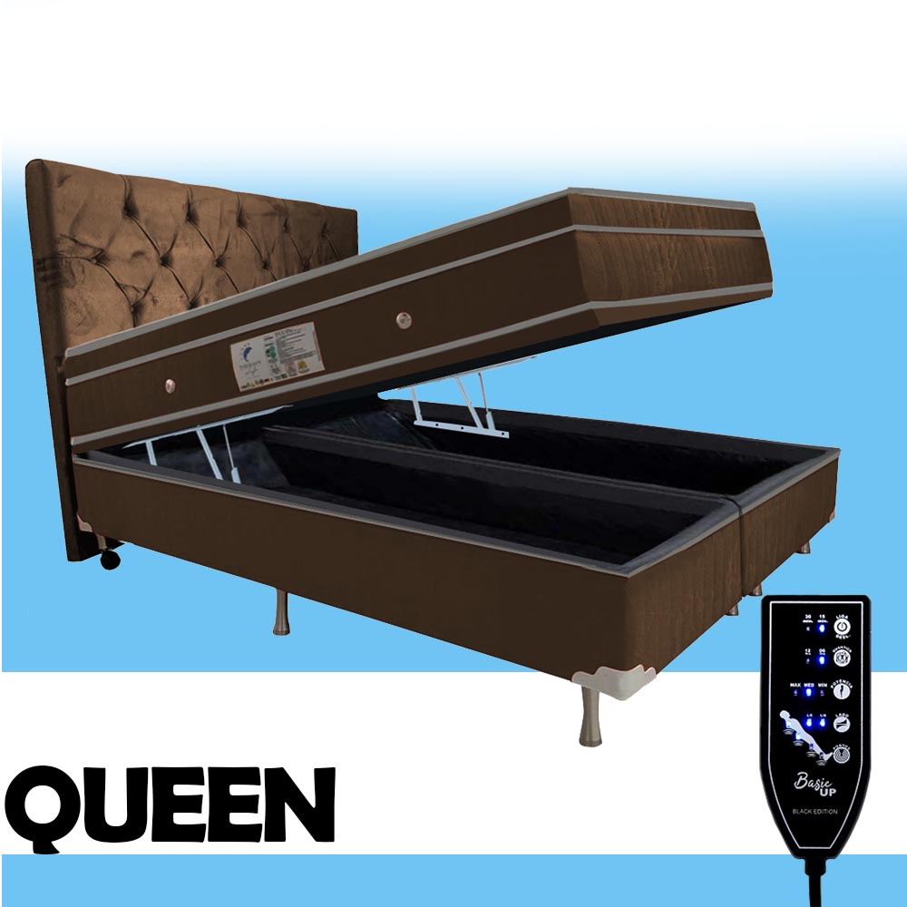 Cama Box Baú + Colchão Massageador Magnético Energia Bio Quântica Queen Size