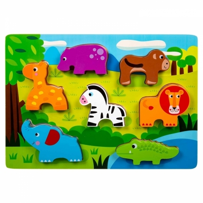 Animais da Selva de Encaixar 8 peças - Brinquedo Educativo de Madeira - Tooky toy