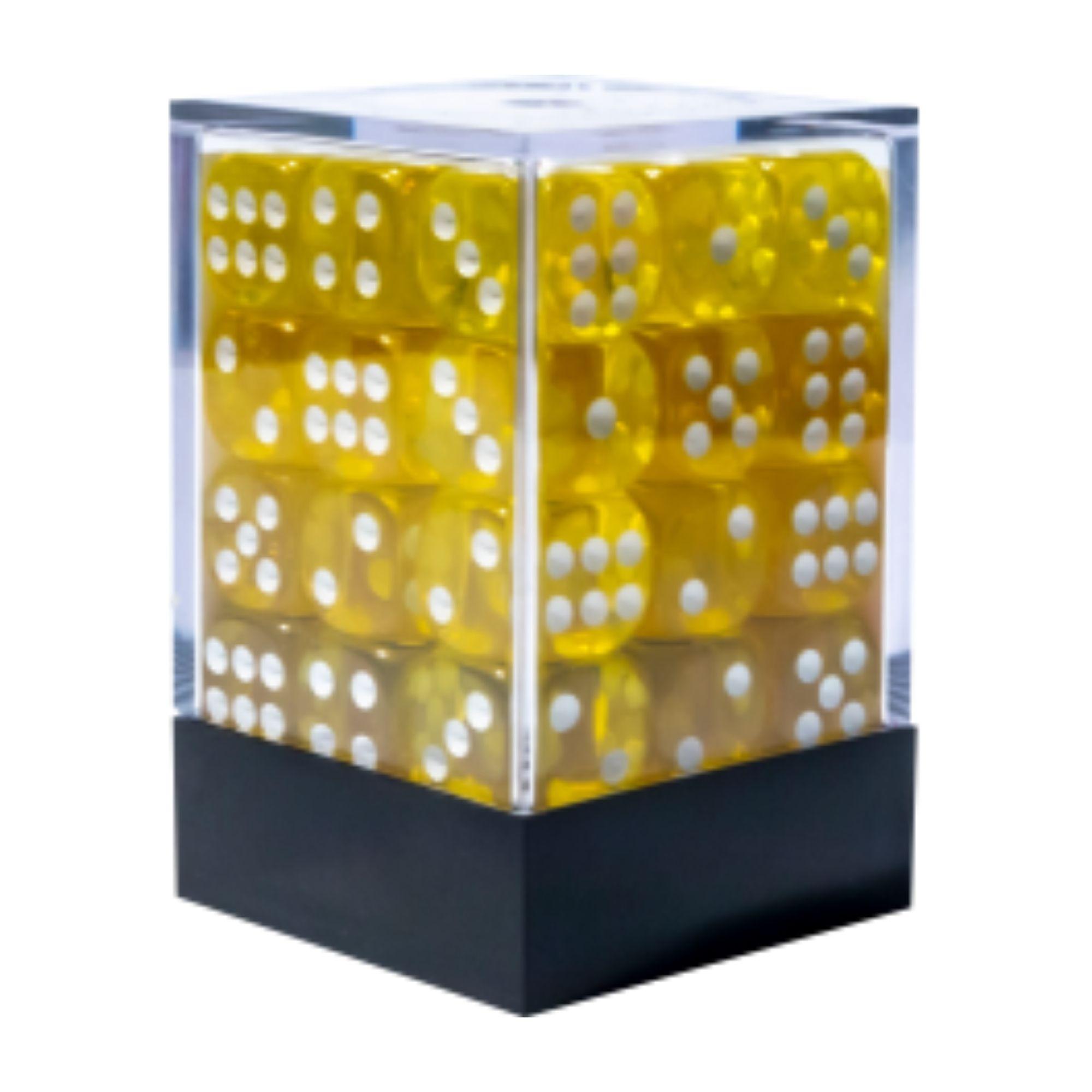Central Dices Conjuntos 36 Dados D6 Translúcido Amarelo e Branco