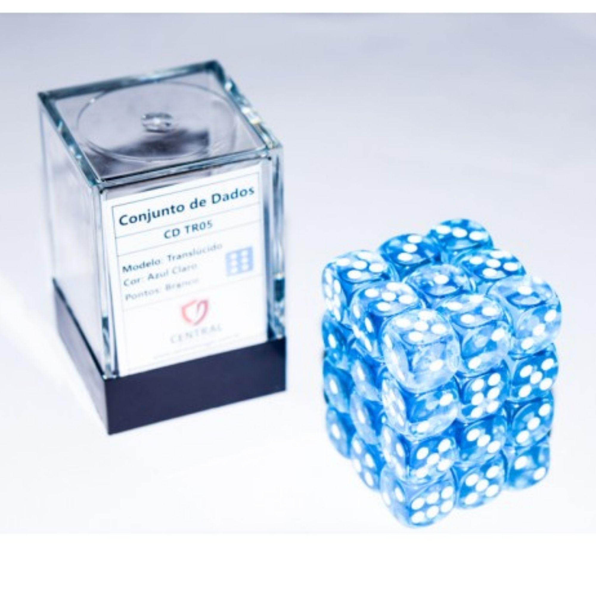 Central Dices Conjuntos 36 Dados D6 Translúcido Azul Claro e Branco