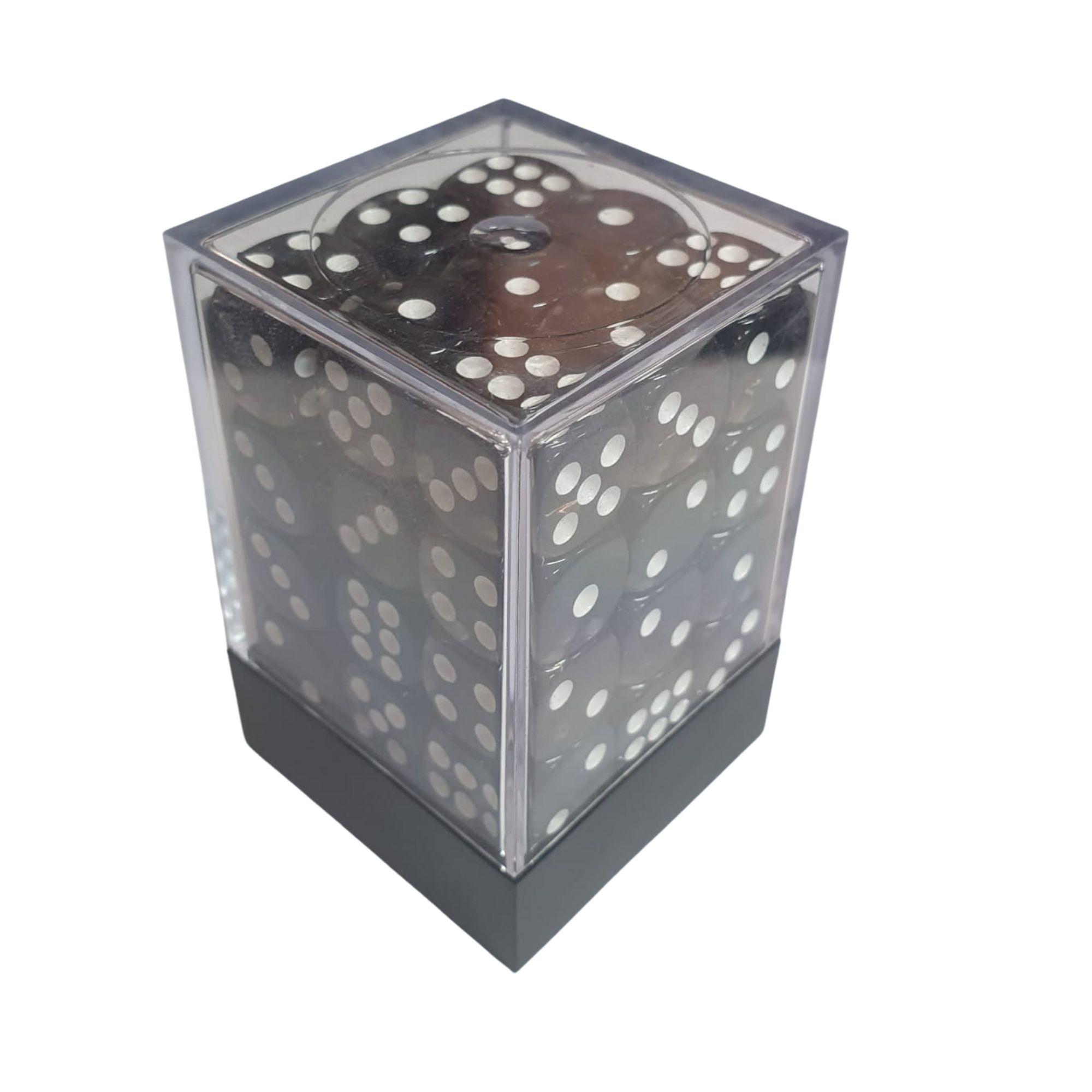 Central Dices Conjuntos 36 Dados D6 Translúcido Preto e Branco