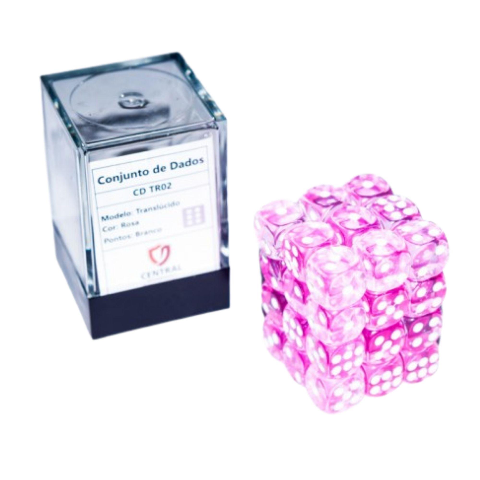 Central Dices Conjuntos 36 Dados D6 Translúcido Rosa e Branco