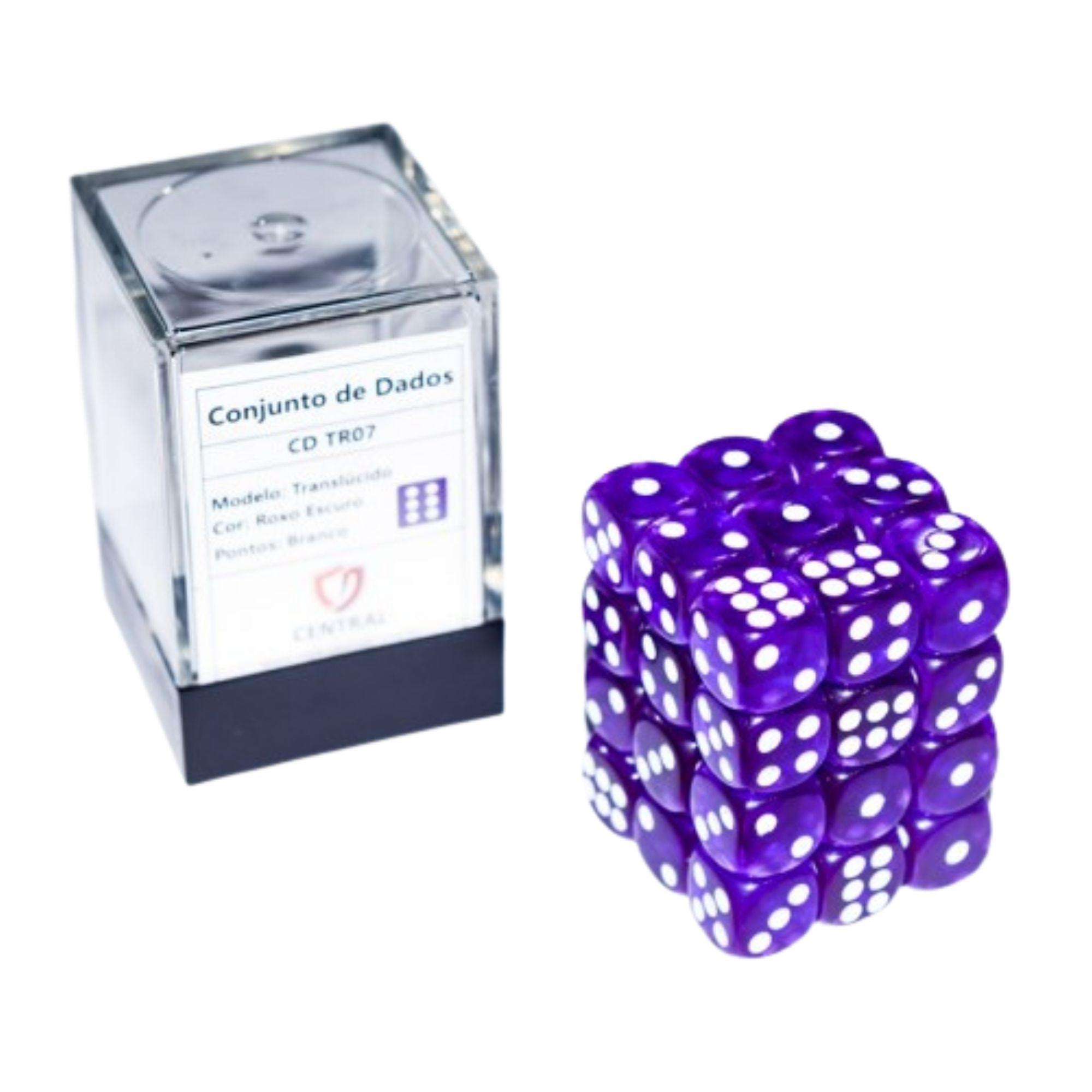 Central Dices Conjuntos 36 Dados D6 Translúcido Roxo Escuro e Branco