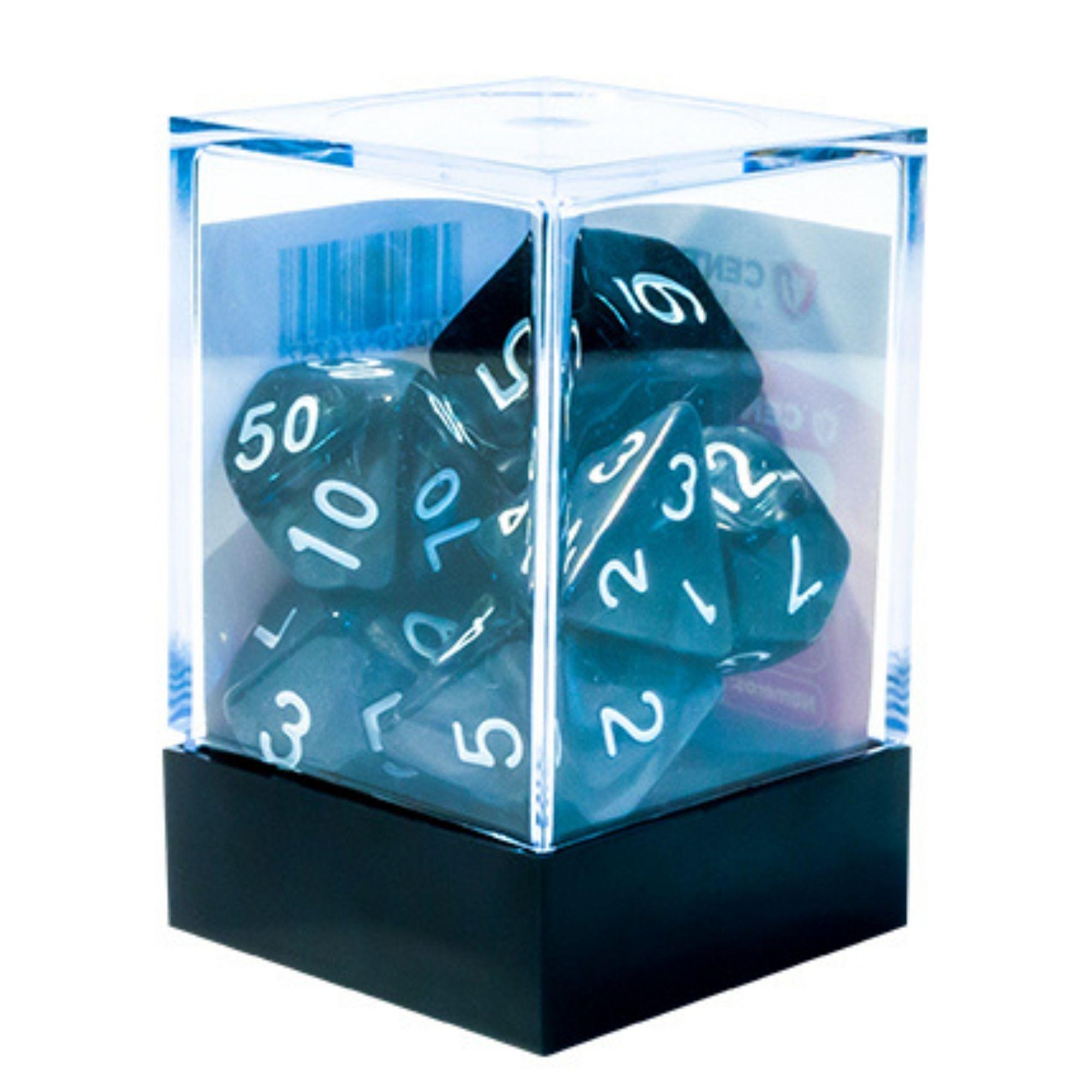 Central Dices Conjuntos 7 Dados RPG Mármore Preto e Branco