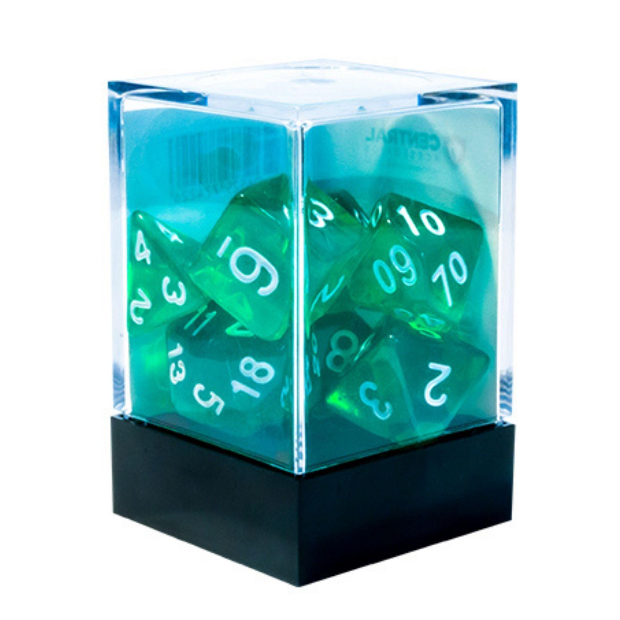 Central Dices Conjuntos 7 Dados RPG Translúcido Verde e Branco