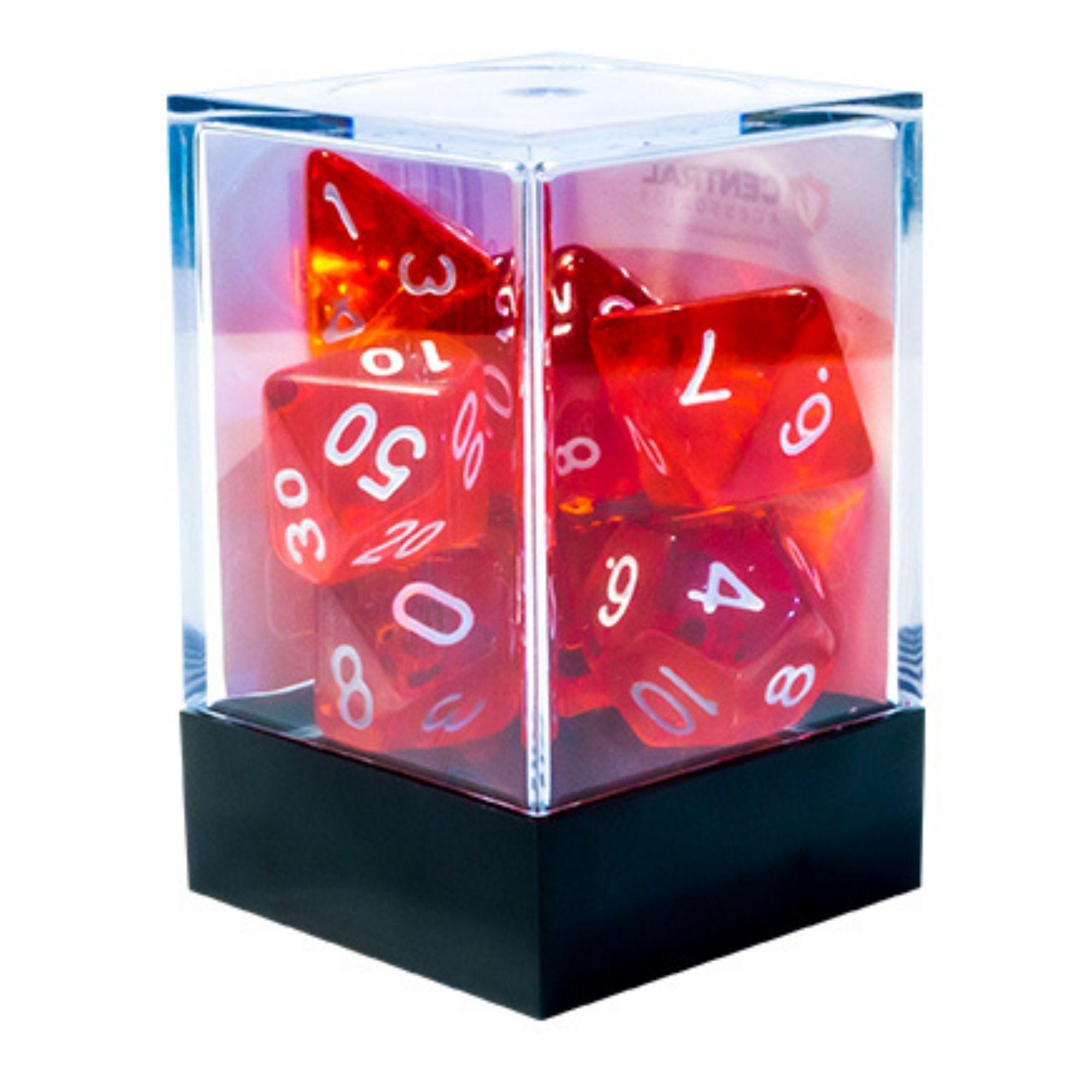 Central Dices Conjuntos 7 Dados RPG Translúcido Vermelho e Branco
