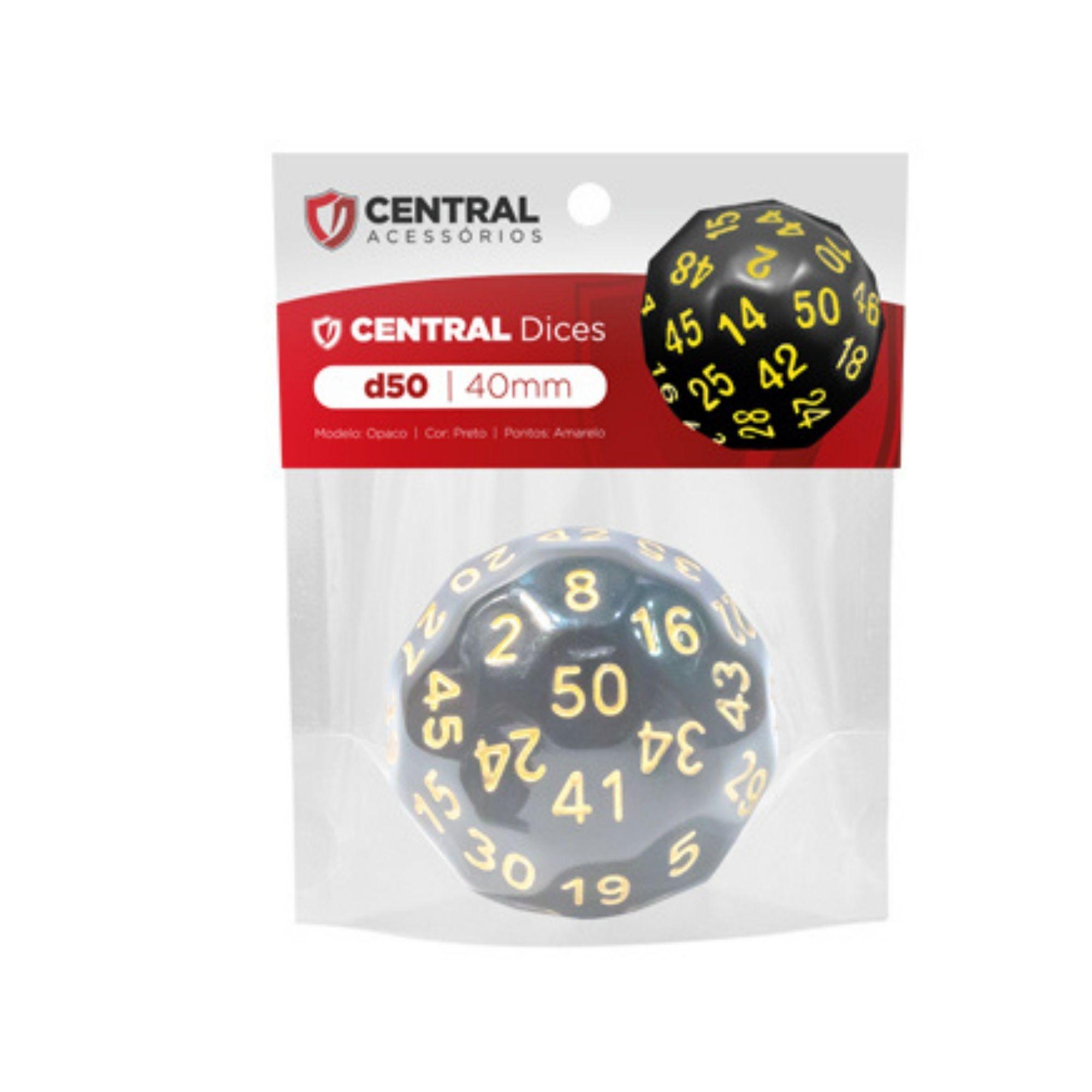 Central Dices D50 de 40mm Preto e Amarelo
