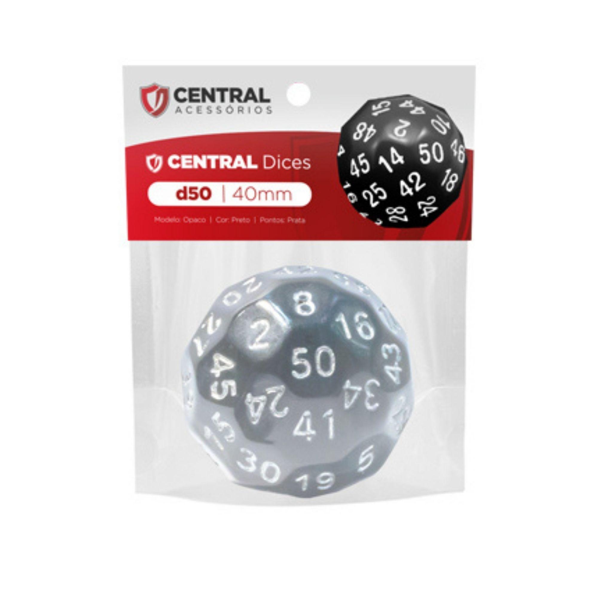 Central Dices D50 de 40mm Preto e Prata