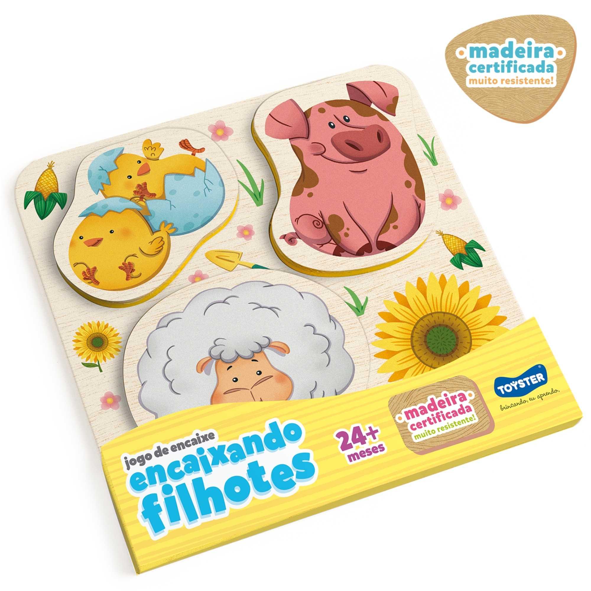 Jogo de Encaixe com Filhotes - Porco, Ovelha e Pintinho